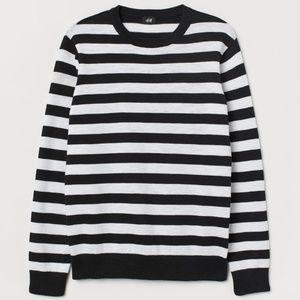 Navy Blue Stripe Silk Blend Crewneck Sweater